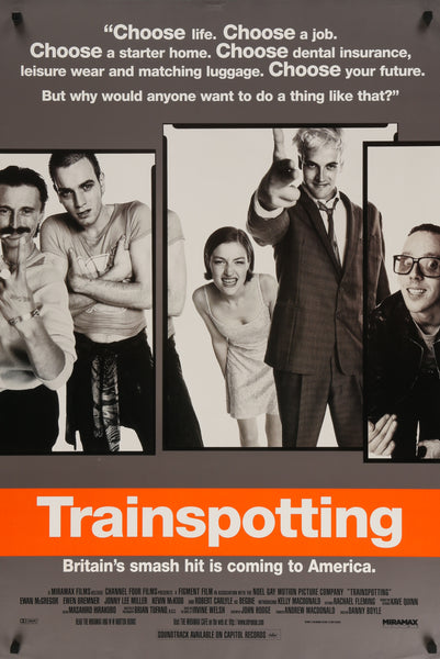 An original movie poster for the film Trainspotting