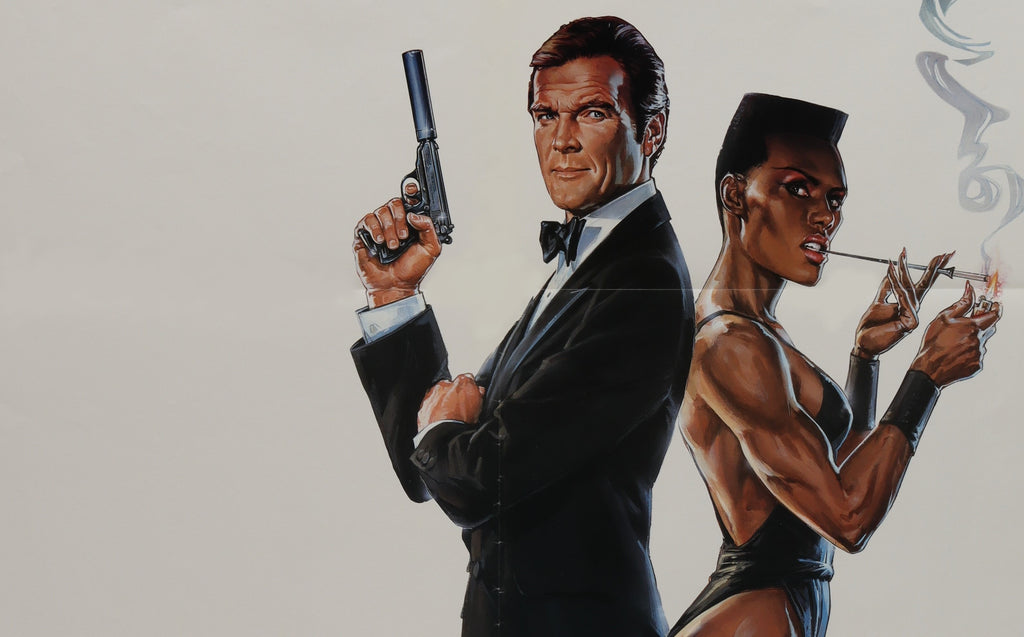 Roger Moore and Grace Jones on an original movie poster for the James Bond film A View To A Kill