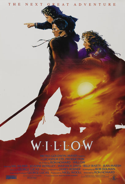 An original movie poster for the George Lucas film Willow with Warwick Davis