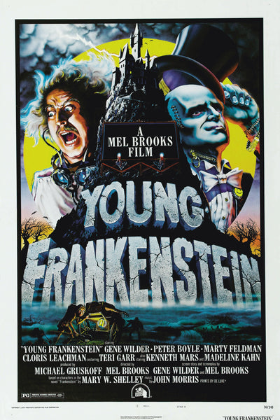 An original movie poster for the film Young Frankenstein