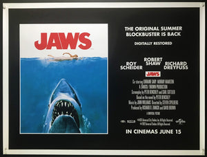 An original movie poster for the Steven Spielberg film Jaws