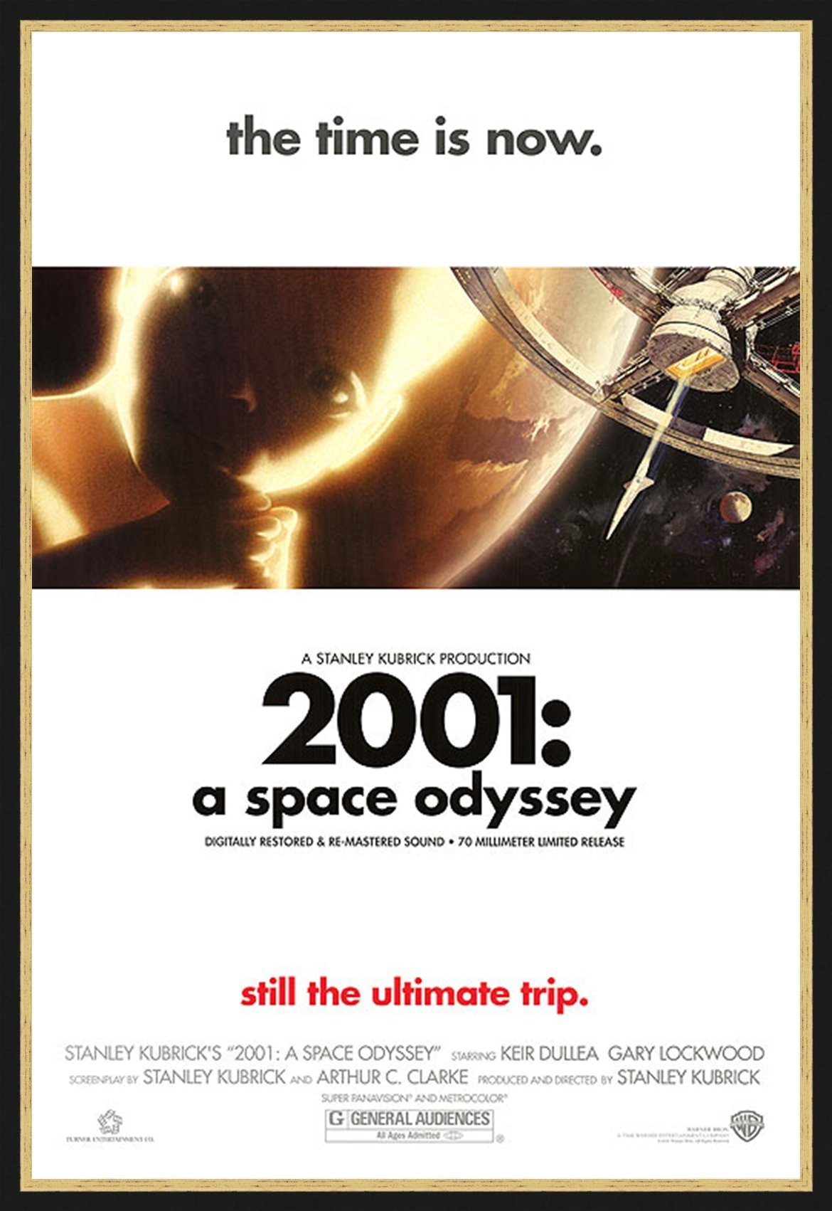 An original movie poster for the Stanley Kubrick film 2001 A Space Odyssey