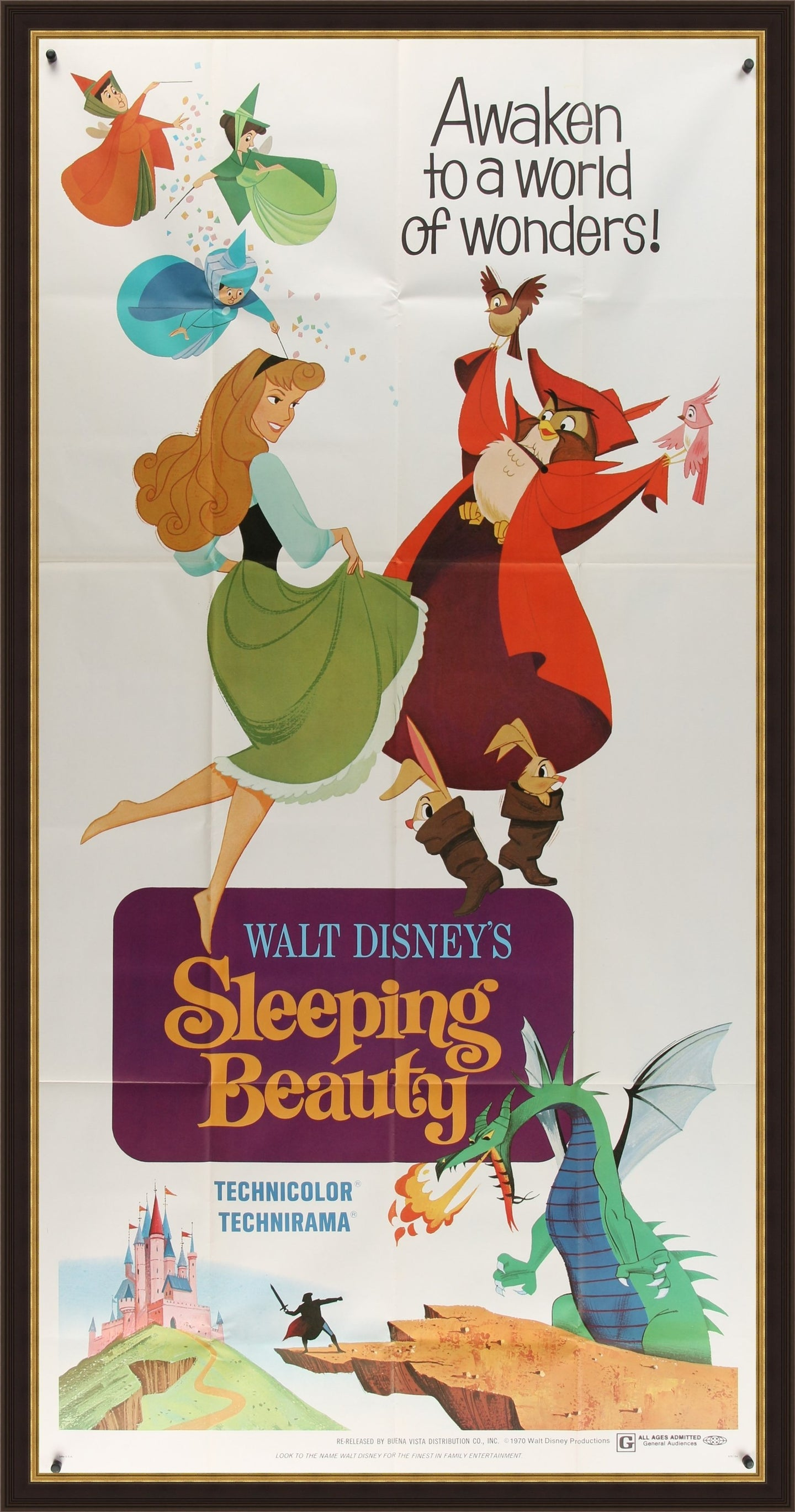 An original three sheet movie poster for the Disney film Sleeping Beauty