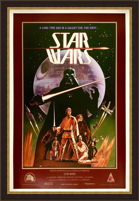 An original concept movie poster for Star Wars by Ralph McQuarrie and Lawrence Noblea