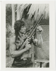 An original movie still from the Sylvester Stallone film Rambo 2 : First Blood