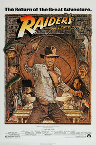 An original movie poster by Richard Amsel for the film Raiders of the Lost Ark