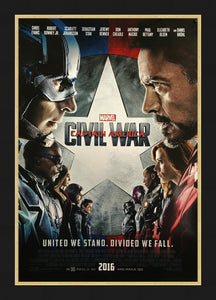 An original movie poster for Captain America : Civil War
