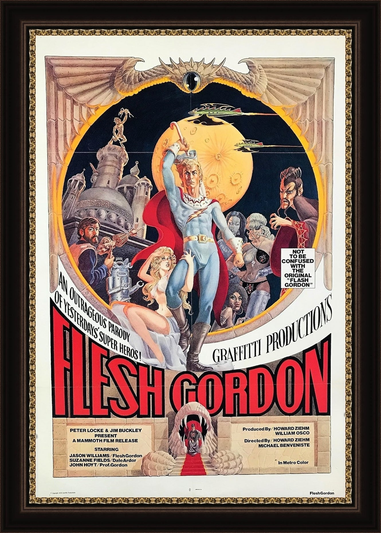 An original movie poster for 1974's camp sci-fi parody Flesh Gordon
