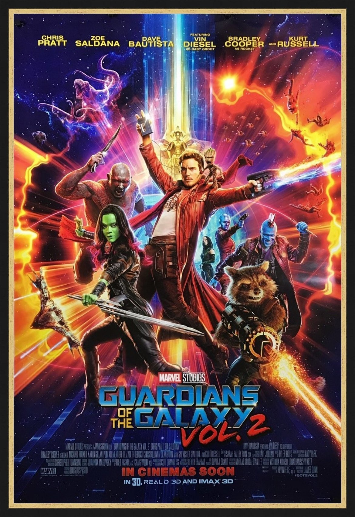 An original movie poster for the film Guardians of the Galaxy 2
