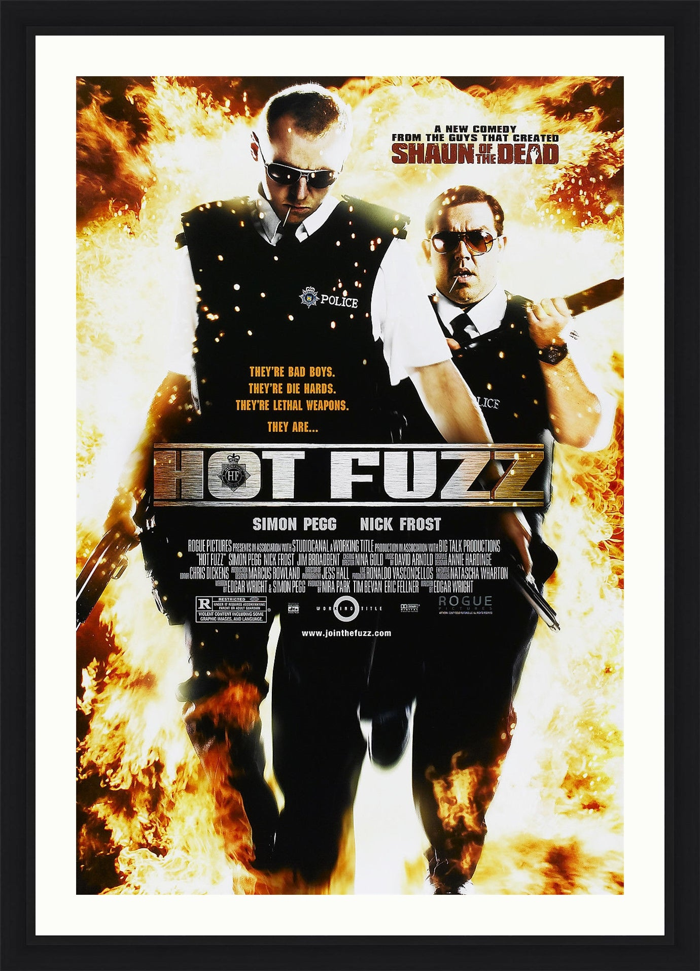 An original movie poster for the Edgar Wright movie Hot Fuzz