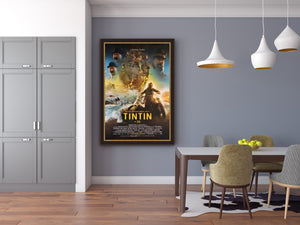 An original movie poster for the film The Adventures of TinTin