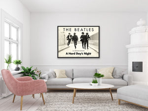 An original movie poster for the Beatles' film A Hard Day's Night