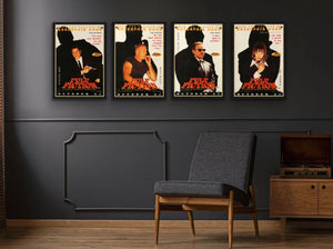 A set of four character posters for the Tarantino film Pulp Fiction
