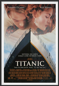 An original movie poster for the James Cameron film Titanic