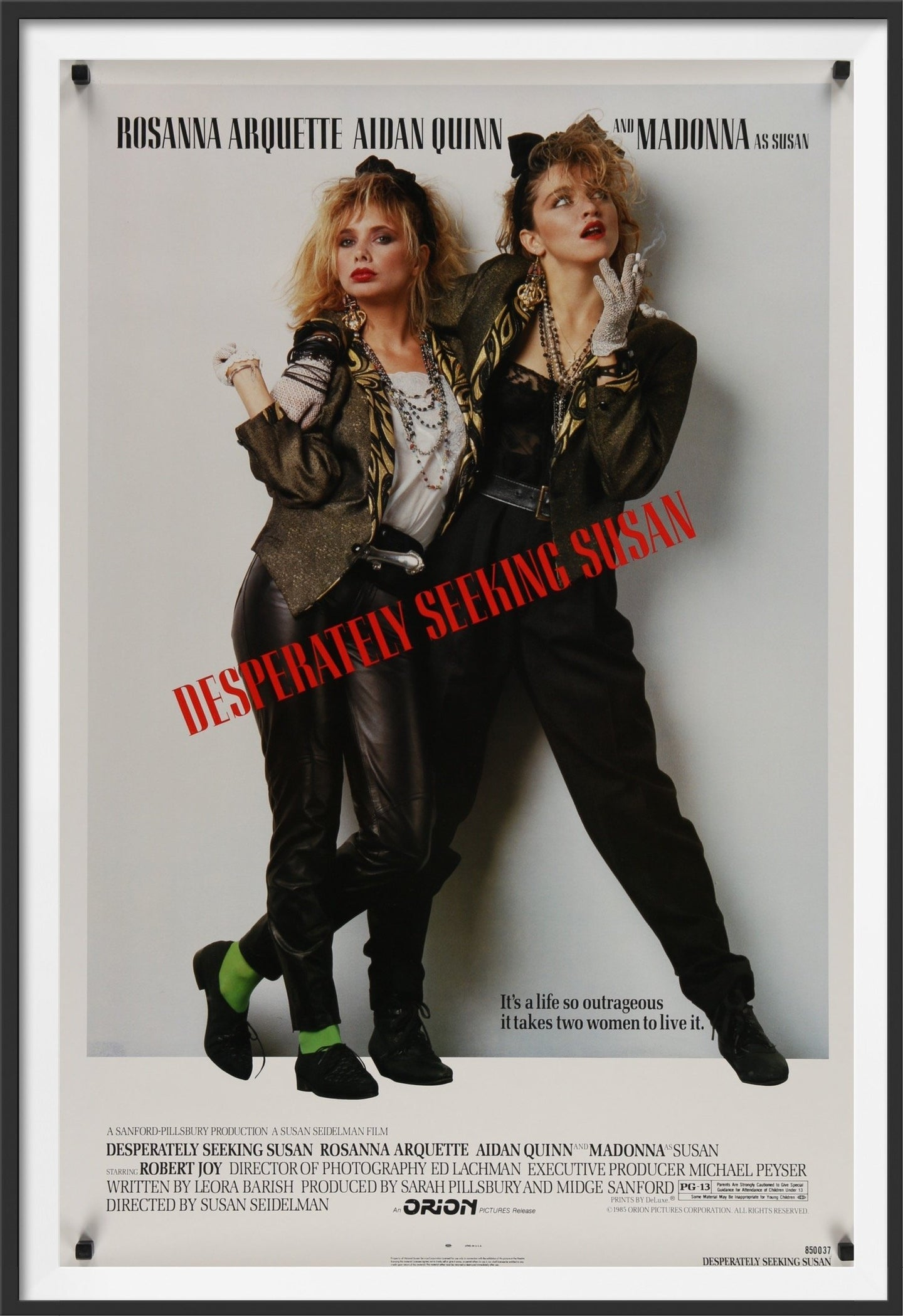 An original movie poster for the Madonna film Desperately Seeking Susan