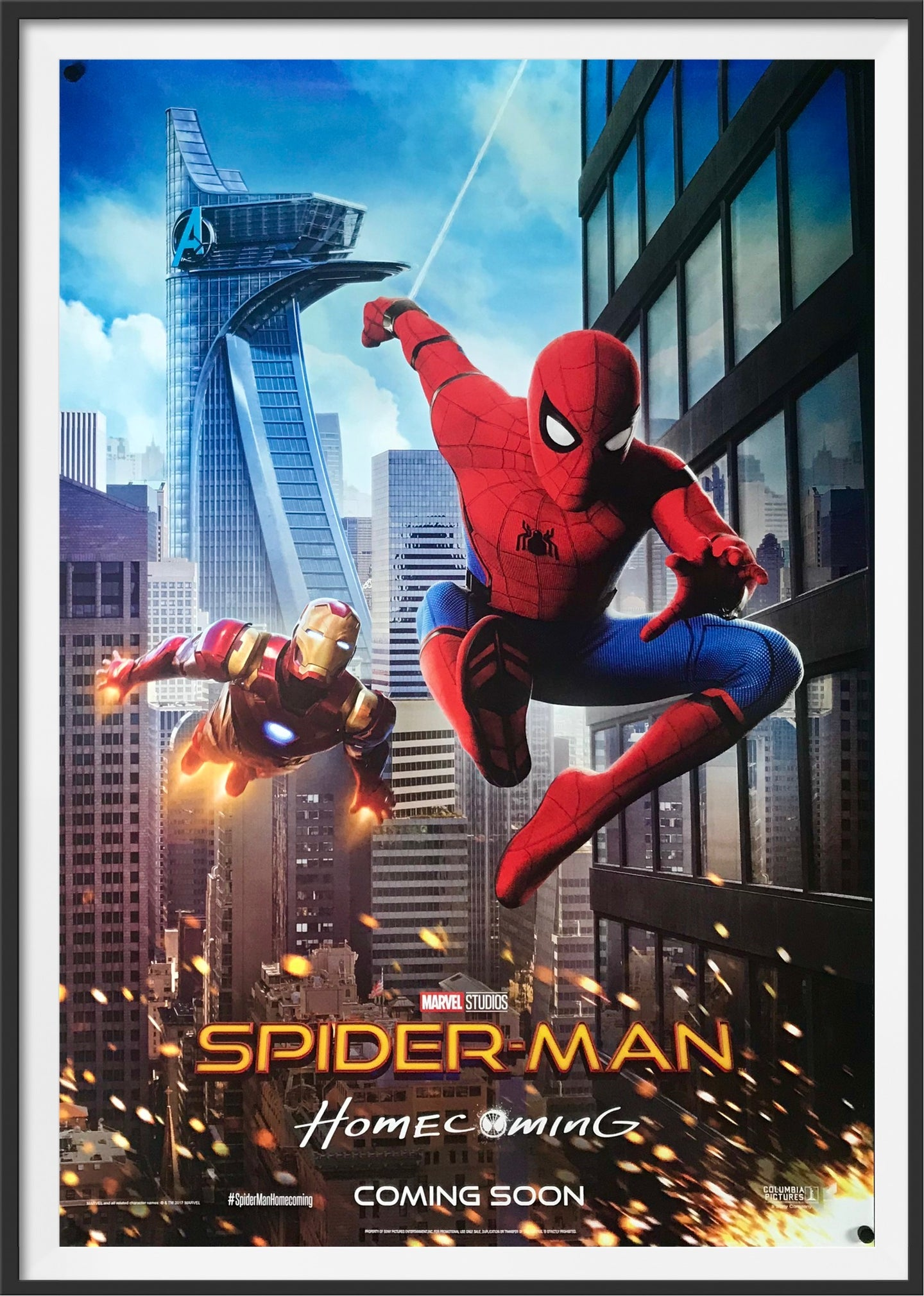 An original movie poster for the Marvel film Spider-Man: Homecoming
