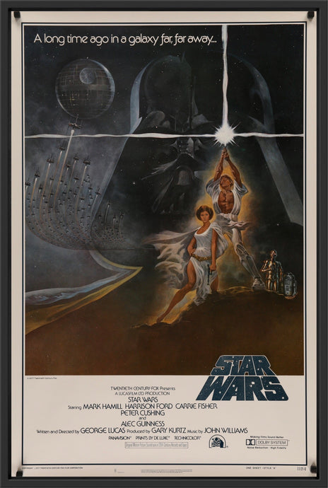 An original first printing Style A one sheet for Star Wars (A New Hope) 1977