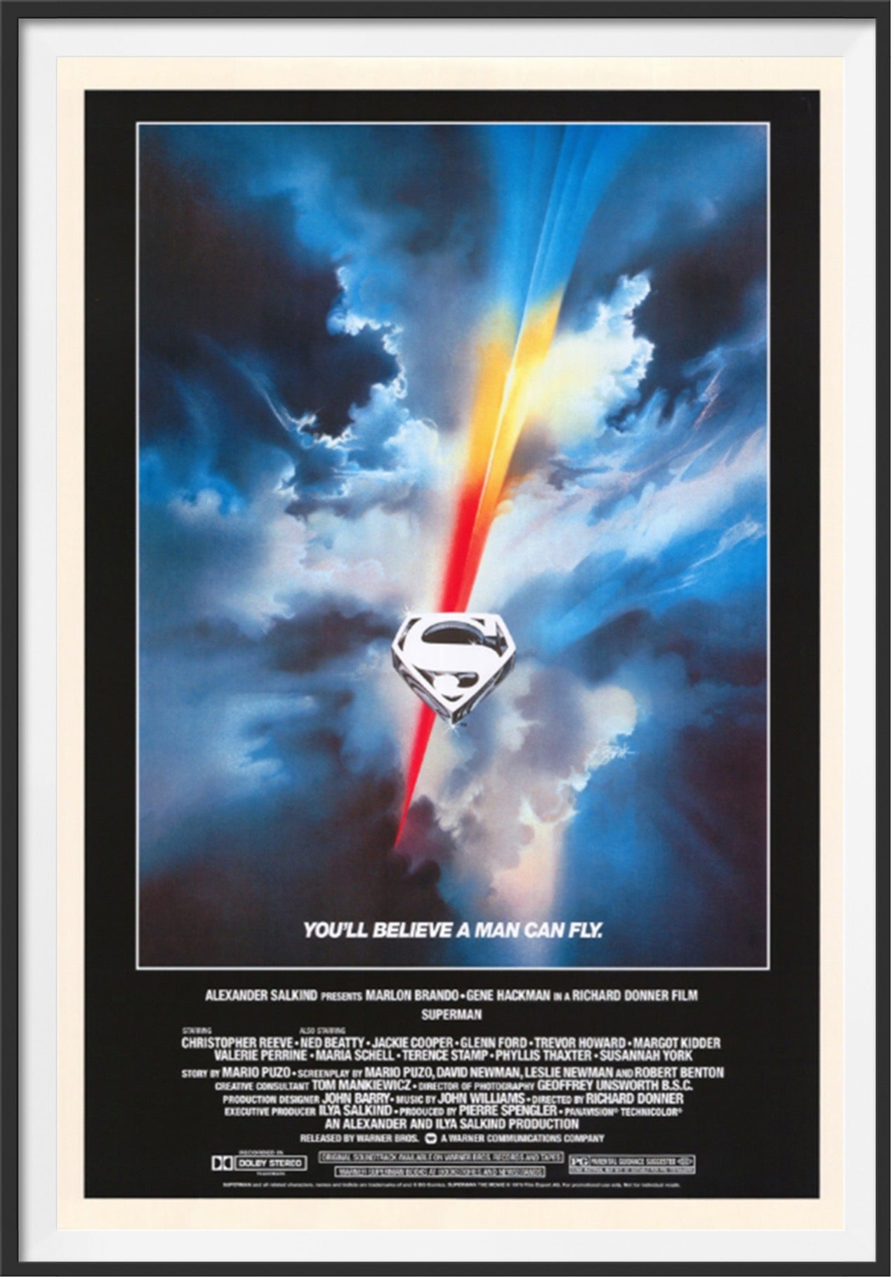 An original movie poster from 2002 for the 1978 film Superman