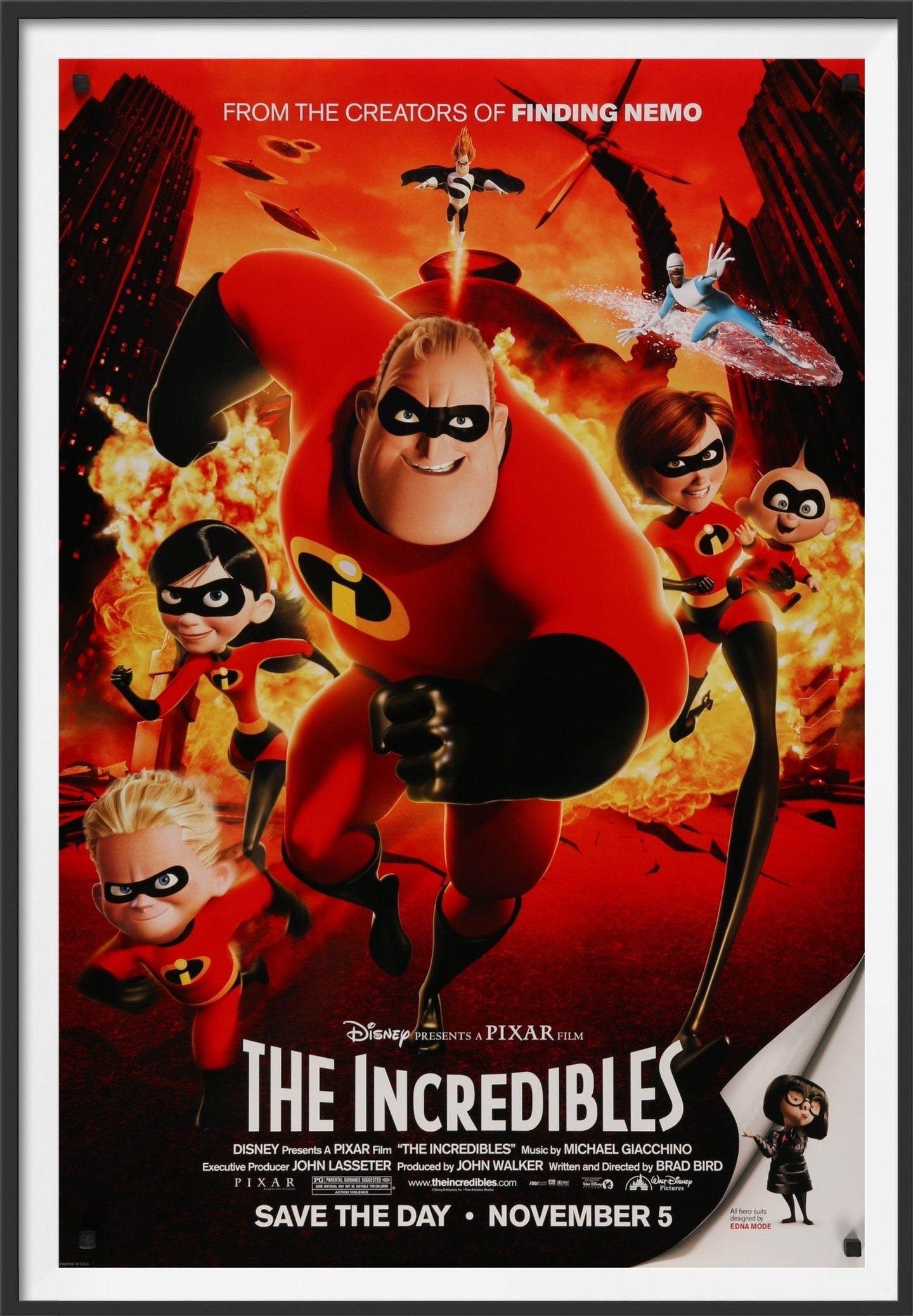 An original movie poster for the Disney / Pixar film The Incredibles