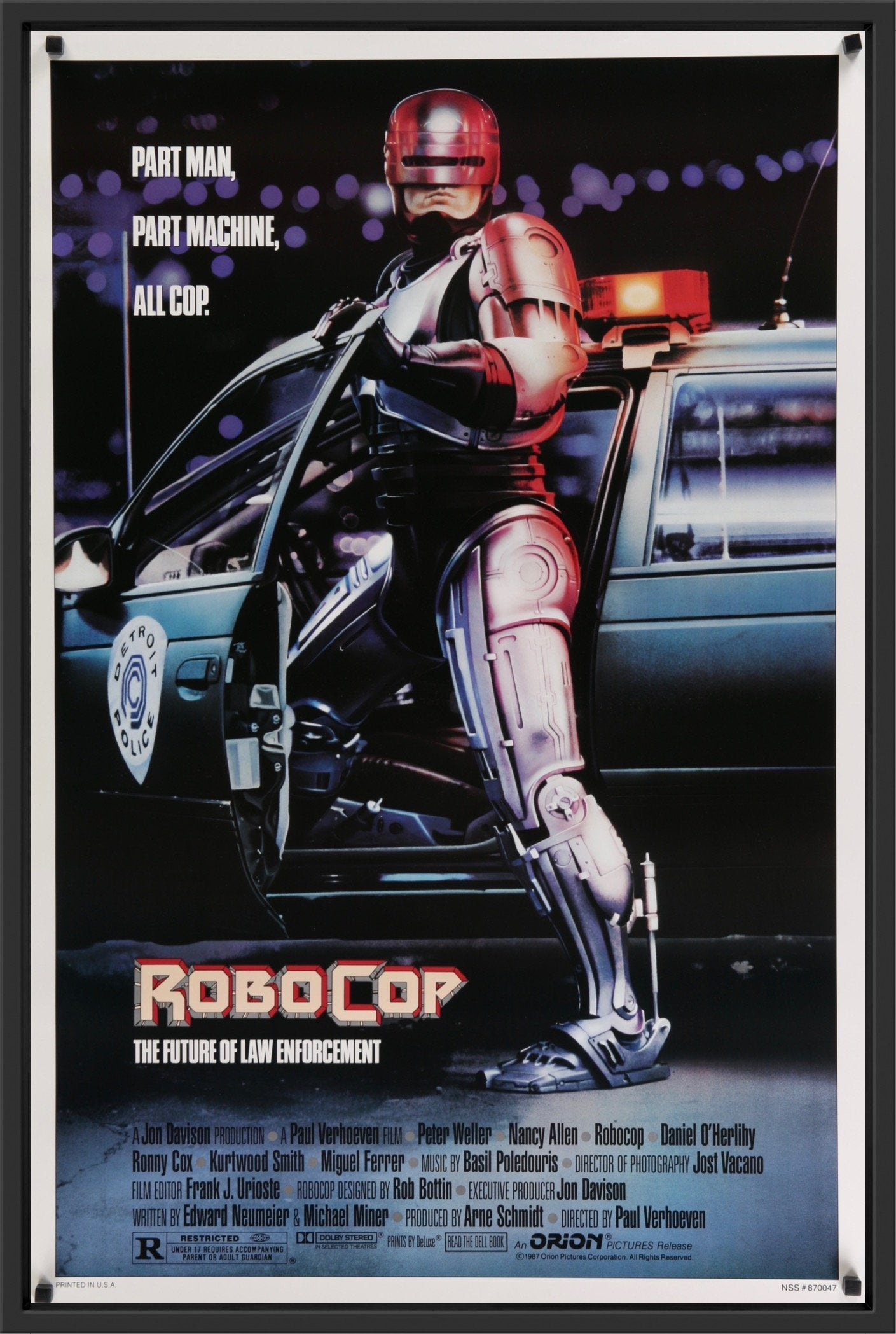 An original movie poster for the film Robocop