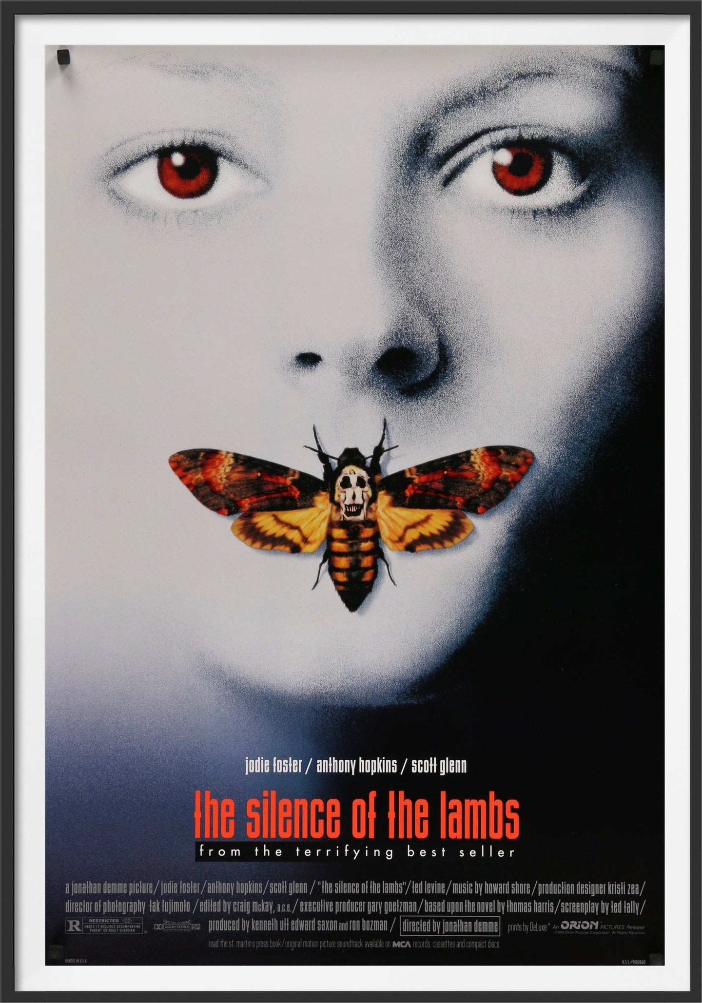 An original movie poster for the film The Silence of the Lambs