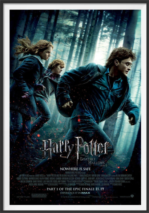 An original movie poster for the film Harry Potter and Deathly Hallows Part 1