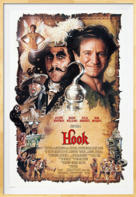 An original movie poster for the film Hook with artwork by Drew Struzan