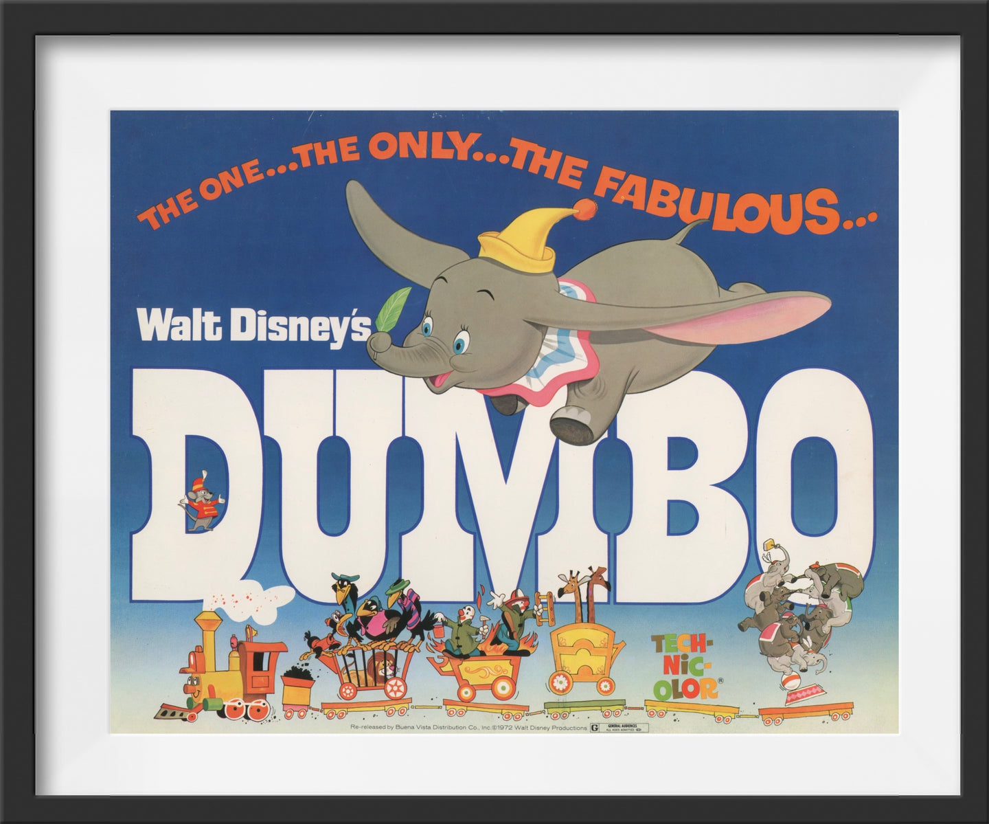 An original lobby card for the Disney film Dumbo