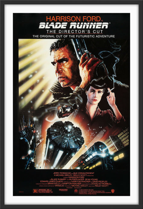 An original movie poster for the Ridley Scott film Blade Runner