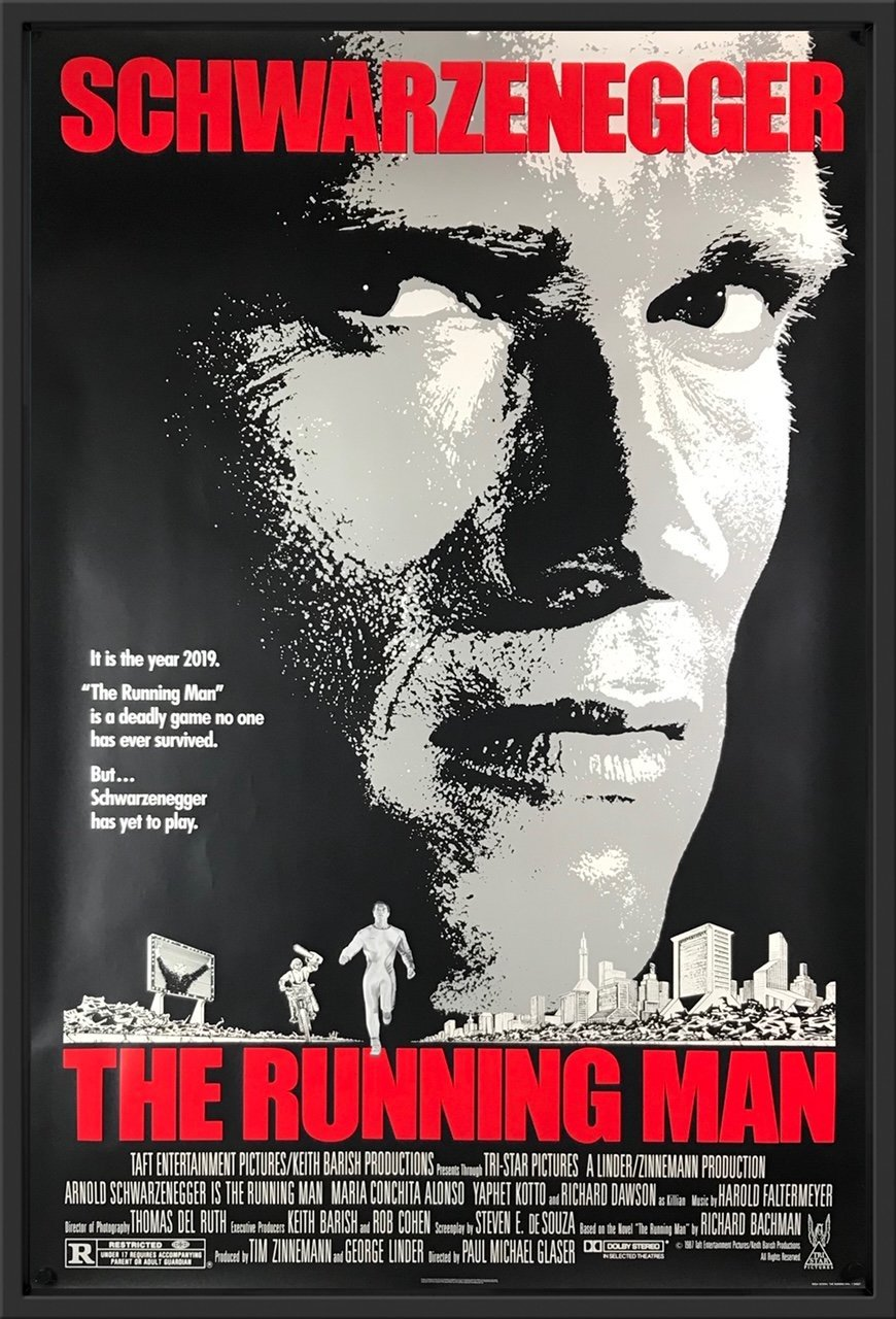 An original movie poster for the film The Running Man