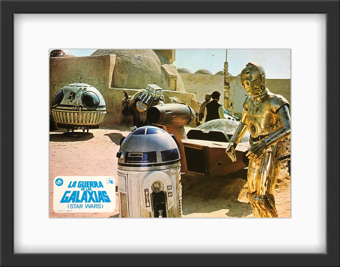 An original Spanish lobby card for the Star Wars film A New Hope