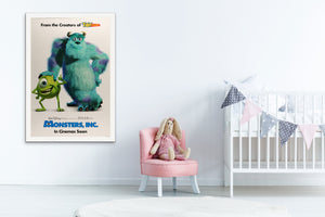 An original movie poster for Disney and Pixar's Monsters Inc
