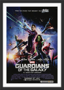An original movie poster for the MCU film Guardians of the Galaxy