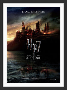 An original movie poster for the film Harry Potter and the Deathly Hallows