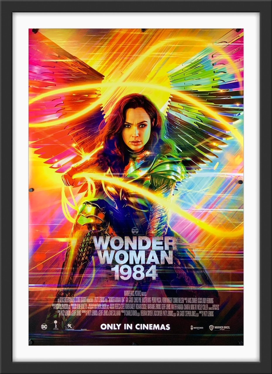 An original movie poster for the DC comics film Wonder Woman 1984