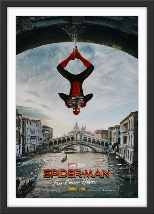 An original movie poster for the Marvel film Spider-Man Far From Home