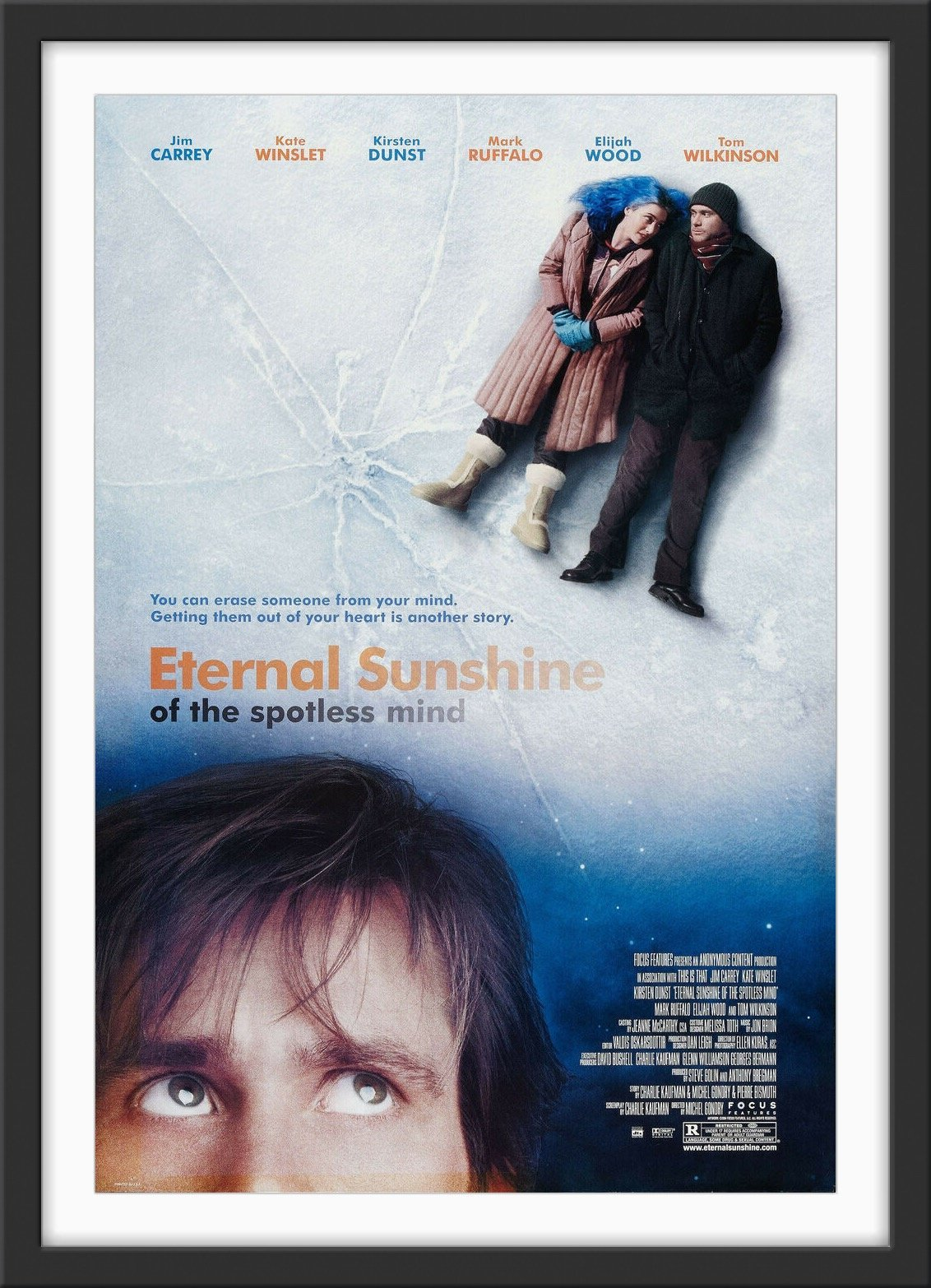 An original movie poster for the film Eternal Sunshine of the Spotless Mind