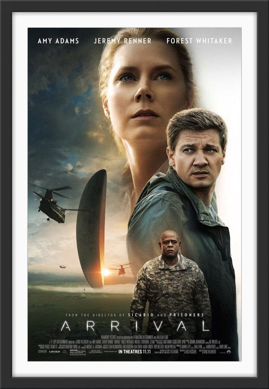 An original movie poster for the Denis Villeneuve film Arrival