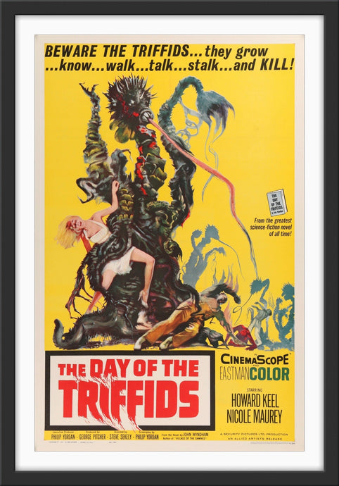 An original movie poster for the horror film The Day of The Triffids