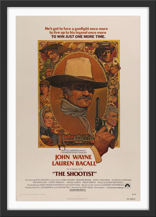 An original movie poster with artwork by Richard Amsel for the John Wayne film The Shootist