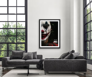 An original movie poster for the DC comics film Joker