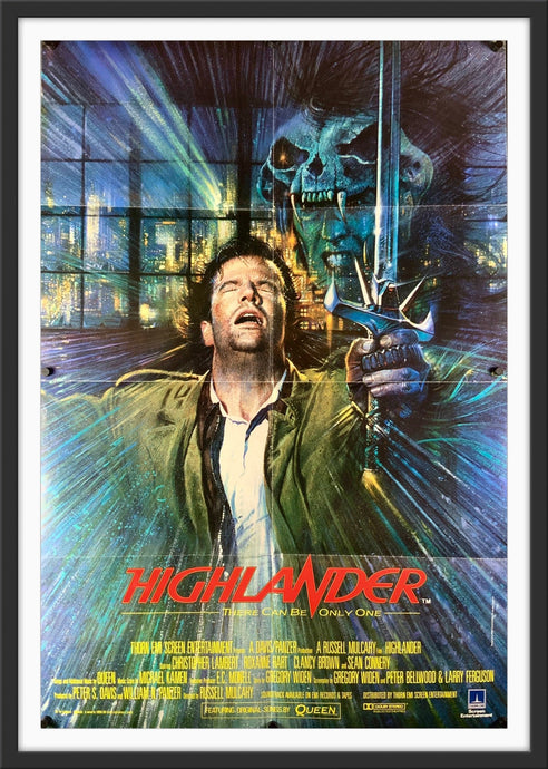An original movie poster for the film Highlander