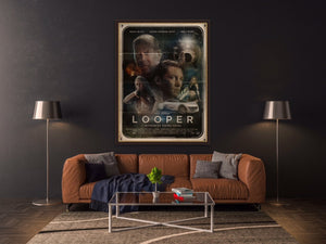 An original movie poster for the film Looper by Richard Davies