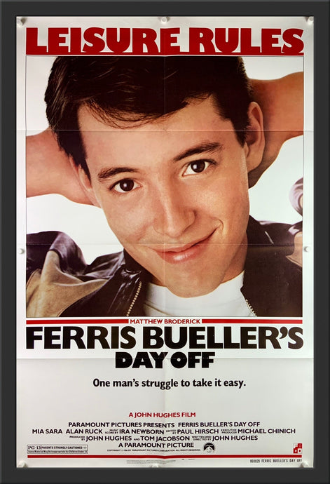 An original movie poster for the film Ferris Bueller's Day Off