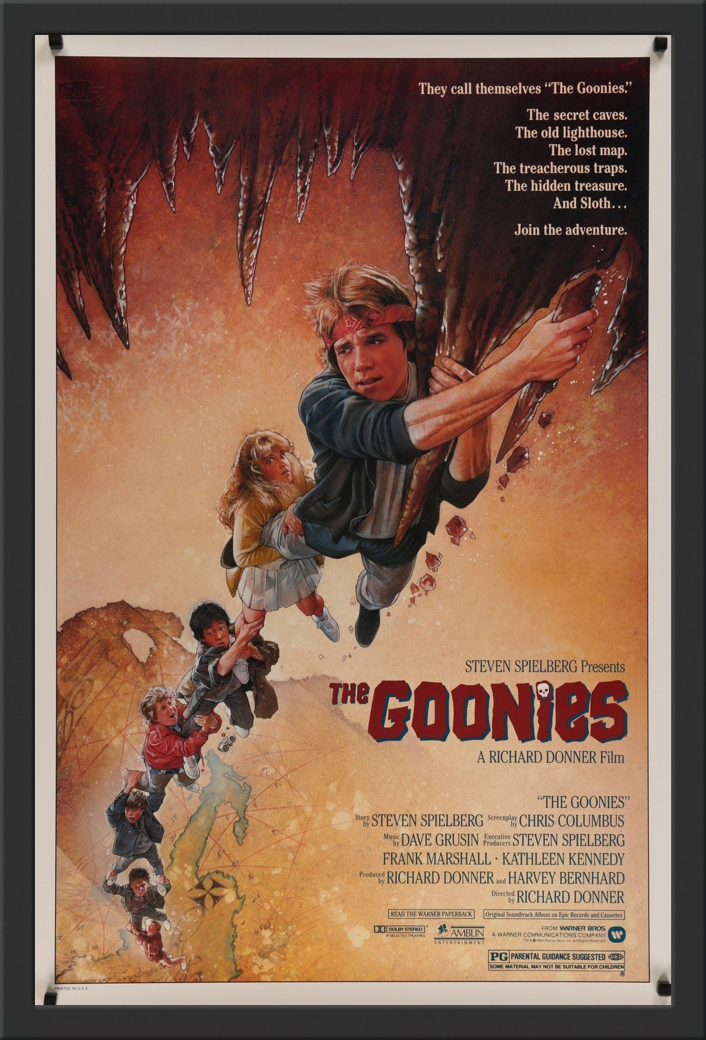 An original movie poster for the Steven Spielberg and Richard Donner film The Goonies