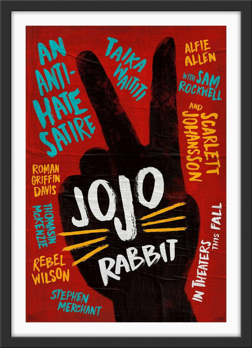 An original movie poster for the film JoJo Rabbit
