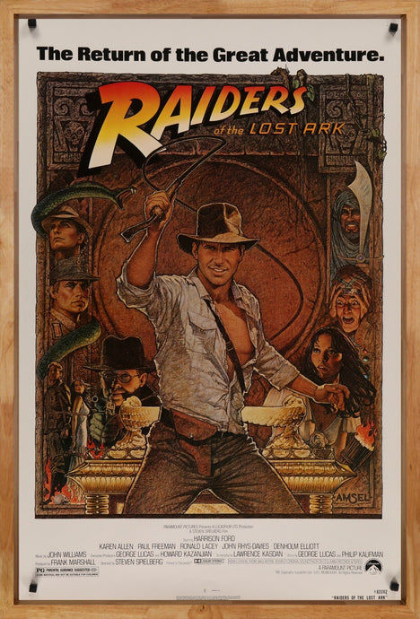 An original movie poster for the film Raiders of the Lost Ark
