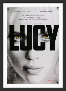 An original movie poster for the Luc Besson film Lucy