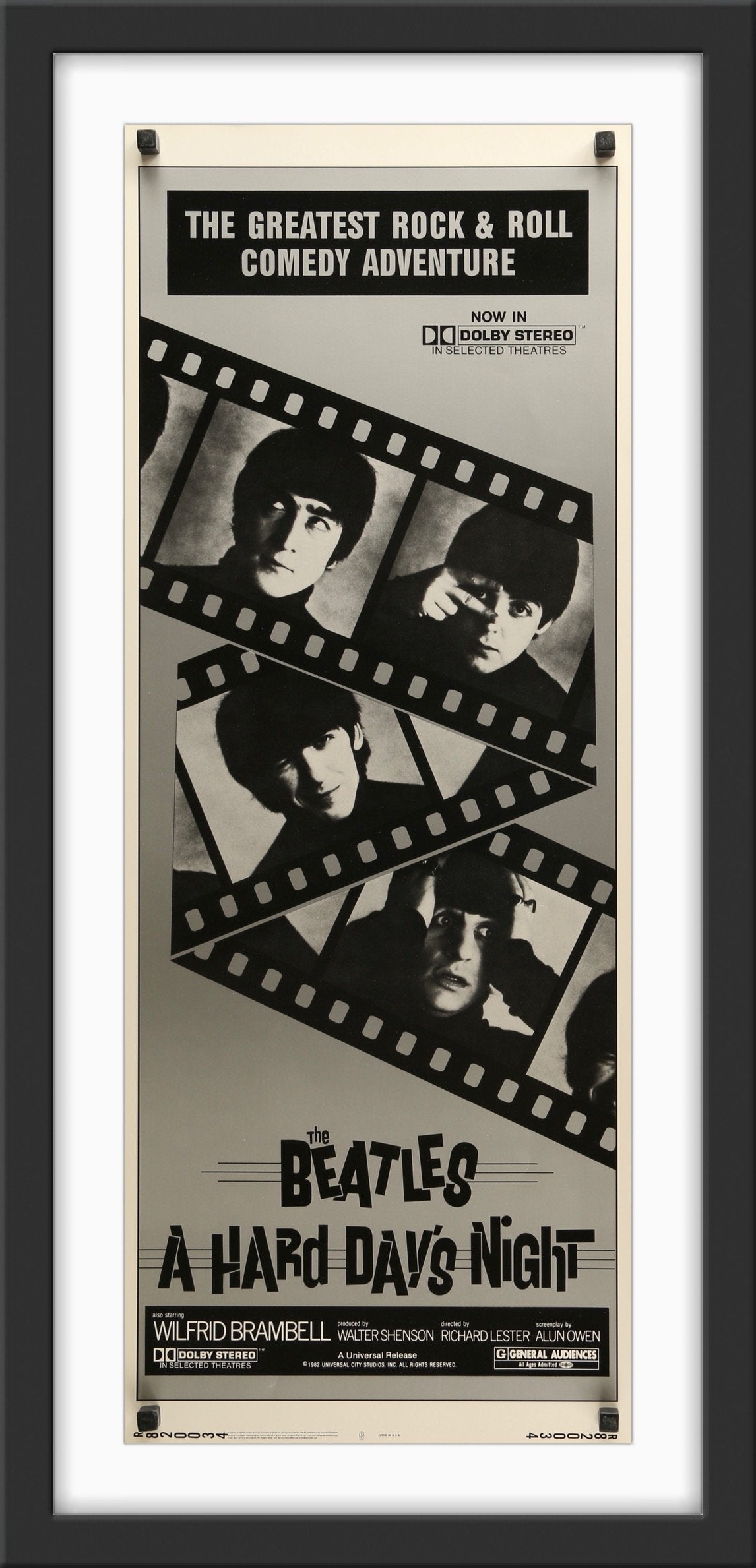 An original U.S. insert movie poster for The Beatles' movie A Hard Day's Night