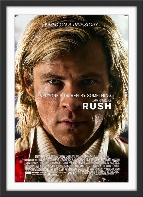 An original movie poster for the Ron Howard film Rush